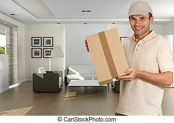 Home delivery - Messenger holding a cardboard box in a home...