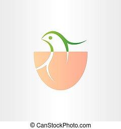 little bird birth in egg icon
