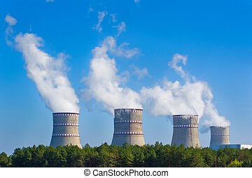 esfriando, torres, de, Nuclear, poder, planta,