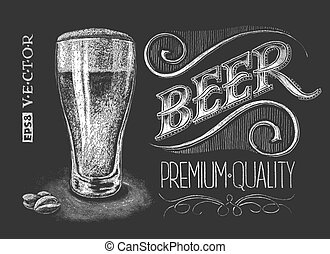Poster of beer on the chalkboard - Vector illustration of...
