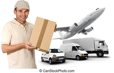 Efficient transport service - A messenger holding a package...