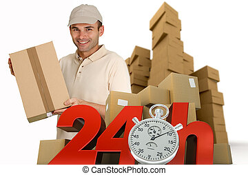24 hrs guaranteed - A messenger delivering a parcel with 24...