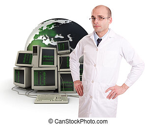 IT support - Technician in a white robe on a background of...