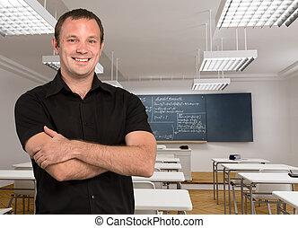 Young maths teacher - Portrait of a smiling teacher in an...