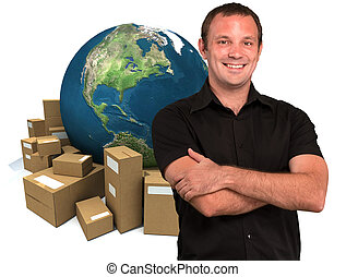 Selling around the world - Smiling man with a world map and...