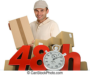 Goods delivery in 48 hrs - A messenger delivering a parcel...