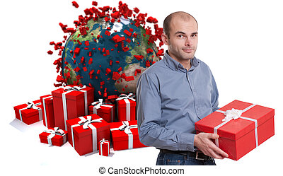 Man with gifts in world celebration - Young man holding a...