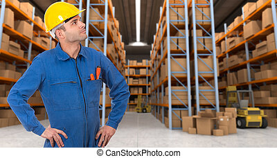 Warehouse operative a - Man with helmet and blue overalls in...