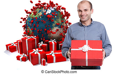 Happy Man with gifts in world celebration - Young man...