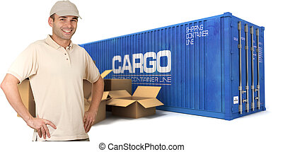 Dispatching freight - A messenger with a cargo container and...