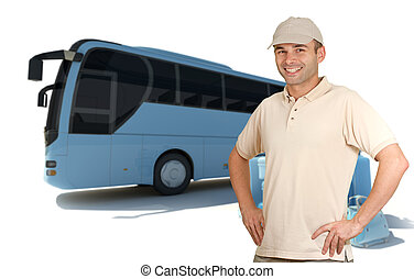 Smiling man by coach bus