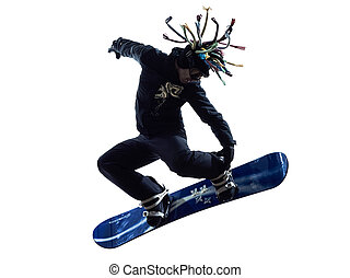 young snowboarder man silhouette - one young snowboarder man...