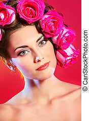 rosebud - Beautiful tender girl with floral hairstyle Roses...