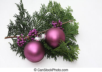 Purple christmas ornaments - Two purple christmas balls and...