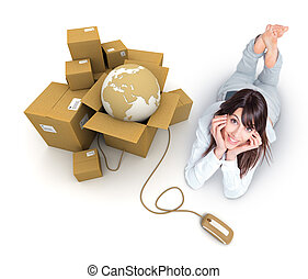 The world at a click - Young woman lying by a pile of...