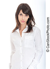 Brunette in white shirt - Young brunette wearing a white...