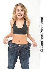 Happy woman after weight loss - Successful weight loss,...