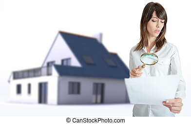 Real Estate document examination - Woman scrutinizing a...