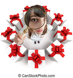 Looking for the perfect gift - A woman looking through a...