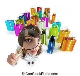 Shopping Bargain hunter - Young woman with magnifying glass...