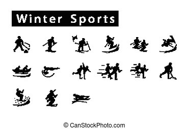 A Mega Set of 15 Winter Sport Icons - Illustration...