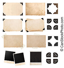 vintage paper card with corners and tapes, photo cardboard