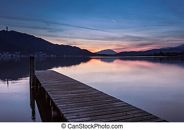 Quiet lake - Sunset time at worther lake in CarinziaAUSTRIA
