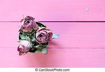 Cupof Roses - Dried pink rose buds and pale dried hydrangea...