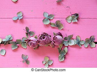 Pretty pastel roses - Dried pink rose buds and pale dried...