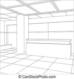 Interior office outlined Tracing illustration of 3d EPS 10...
