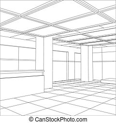 Interior office outlined. Tracing illustration of 3d. EPS 10...
