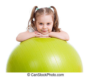 child girl doing fitness exercise with fitball - child girl...