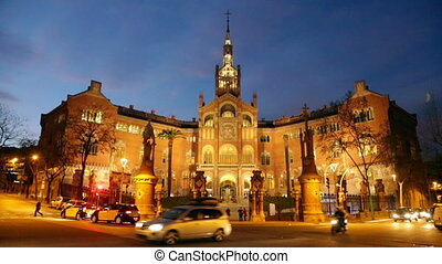 Hospital de Sant Pau in evening - Main facade of Hospital de...