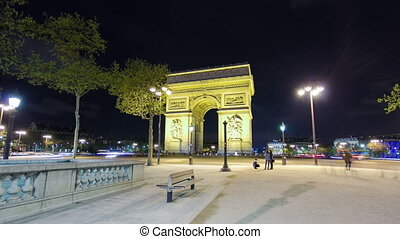 Arc de Triomphe, Paris, France at night timelapse hyperlapse...