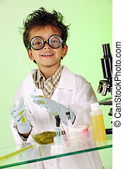 Mad Scientist in Slime - A preschooler with wild hair in lab...