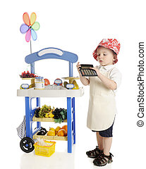 Figuring Vendor Profits - An adorable preschooler standing...