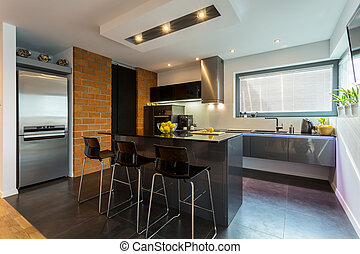 Modern luxurious interior - Kitchen and dining area in...