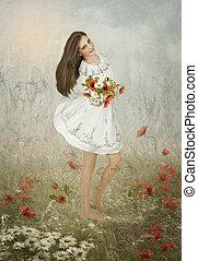 ∥, 女の子, ∥で∥, 花束, の, 野生の花,