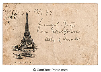 vintage postcard with Eiffel Tower in Paris, France - rare...