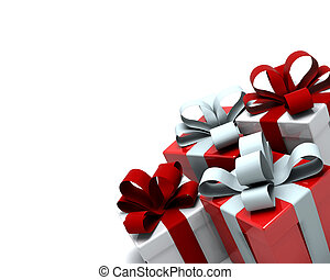 Christmas Gift Boxes - 3d Render of red and white christmas...
