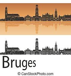 Bruges skyline in orange background in editable vector file