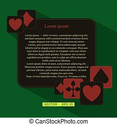 Vector version. Poker frame with cards as a symbol of luck. Flat design