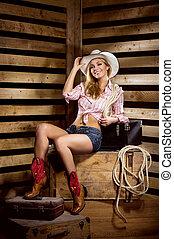 joven, feliz, y, Sexy, Vaquera, en, Occidental, estilo,
