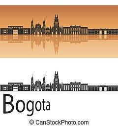 Bogota skyline in orange background in editable vector file