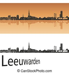 Leeuwarden skyline in orange background