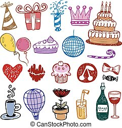 Set of Birthday doodles Vector illustration