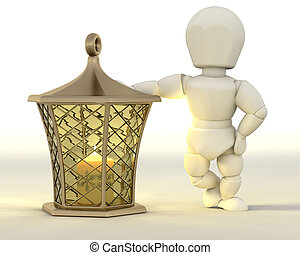 Man leaning on Christmas Lantern - 3D render of a man...