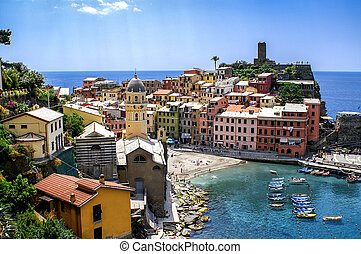 View of the village and beach of Vernazza in the Cinque...