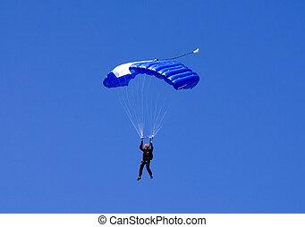 parachutiste, contre, bleu, Été, ciel