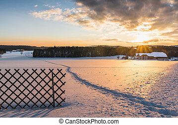 Beautiful winter landscape at sunset